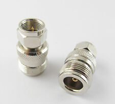 N Female Jack to F Male Plug RF Straight Connector Adapter Nickel-Plated Machine