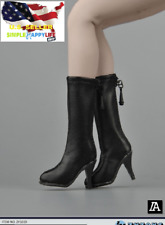 """1/6 classic black leather boots Hollow / Phicen 12"""" female figure Hot toys �Usa�"""