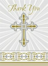 Silver & Gold Radiant Cross Party Thank You Cards x 8