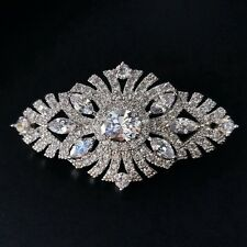 Old European Style Micro Pave CZ Filigree Art Deco Oval Brooch Edwardian Jewelry