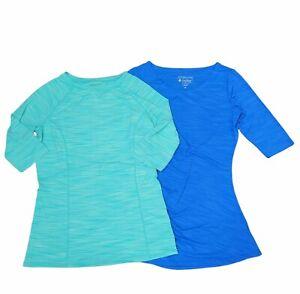 Coolibar Swim Shirts 2 Bundle Blue Green Women's Size XS Rash Guard *READ DESC*