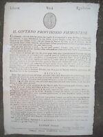 1799 GOVERNO PROVVISORIO PIEMONTE BANDO EN TETE  INSORGENTI E ARMATE PATRIOTICHE