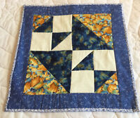 Patchwork Quilt Wall Hanging or Table Topper, Triangles, Four Patch, Florals