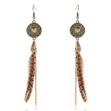 Fashion Women Tassel Feather Drop Dangle Ear Stud Earrings Jewelry Boho