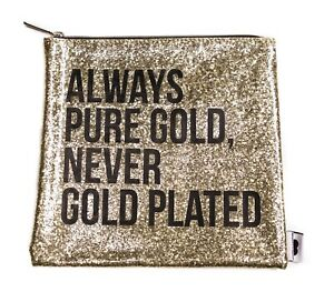 Breakups To Makeups x Sephora Collection Gold Glitter Clutch Bag NEW