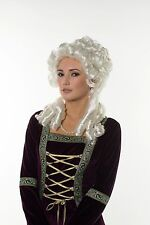 Queen Elizabeth Renaissance Victorian Lady Shinny Silver White Wig Europe H0156