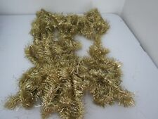 "Vintage Metal Tinsel Christmas Tree Garland 324"" Gold Ish Tone Fluffy"