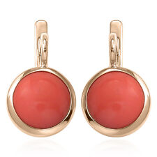 Russian Style Earrings 6.0 Gr. 14k Solid Rose Gold and 12mm Coral 585 E1299