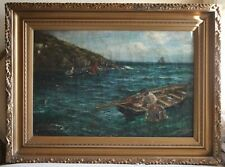 John Robertson Reid Scottish Antique Victorian Oil Painting Cornwall Fishing