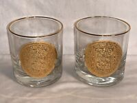 Lot 2 vintage GEORGES BRIARD Gold Spanish Coin Design WHISKEY GLASS Barware