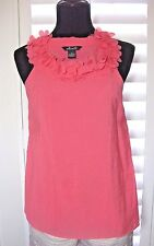 NEW Willi Smith Small Cotton Blend Sleeveless Salmon Pink Coral Jewel Neck Top