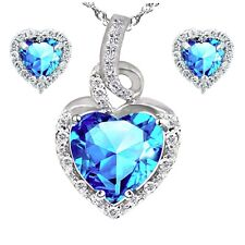 Women's Sterling Silver Lab Blue Topaz Heart Cut Necklace Pendant Earring Set