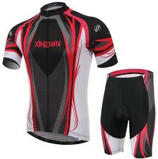 XINTOWN Mens Cycling Jersey Short Sleeved Cycling Clothing Sets Red-Black S-4XL