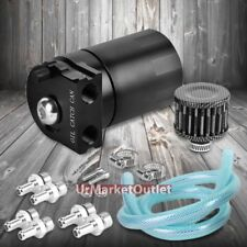 Universal Black Cylinder Aluminum Baffled Oil Catch Tank/Can Reservoir+Filter