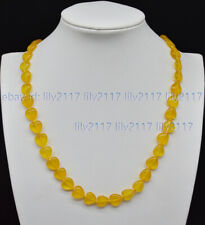Beauty Natural 12mm Yellow Topaz Gemstone Heart-shaped Beads Necklace 14-18'' AA