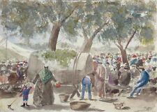 Antique French Watercolor Grape Harvest Festival Figures Wine Barrel Dogs Signed