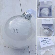 Personalizzata PIUMA in memoria, di vetro ORNAMENTO DI NATALE, confezione regalo
