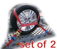 Trailer Car Transporter Recovery Ratchet Straps Orange - Set of 2 - Alloy Wheel
