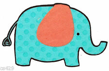 "3"" Jungle safari elephant zoo orange & blue animal fabric applique iron on"