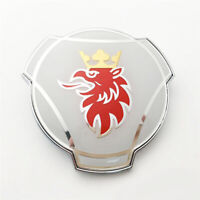 custom SAAB Scania white Logo badge Front Grill Grille Emblem 80mm Nordic Style