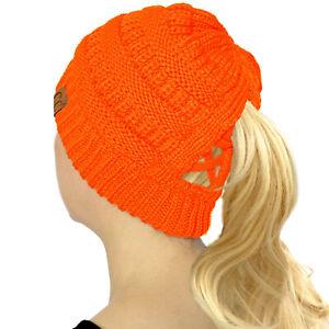 C.C Criss Cross Ponytail Messy Buns Knit Stretchy Beanie Winter Cap Hat