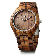 LeeEV Men Luxury Natural Sandal Wood Watch Vintage Quartz Wooden Wristwatch
