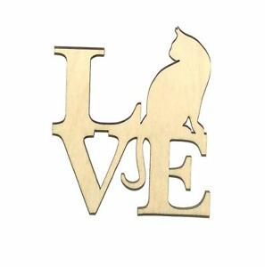 Love Cat Unfinished Wood Shape Cut Out LC11063 Crafts Lindahl Woodcrafts