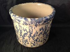 RRP CO Robinson Ransbottom 1 Pt Low Jar Crock Tan Blue Spongeware