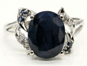 10CT GOLD RING OVAL CUT SAPPHIRE DIAMOND SOLITAIRE  10 KT WHITE GOLD SIZE O