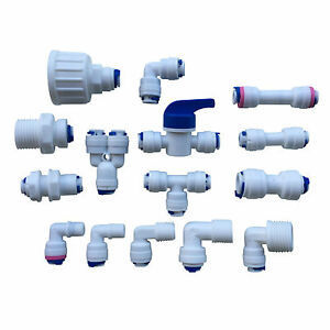 """1/4"""" Push Fit Pipe Tube Fittings Elbow Tee Ball Valve Connections RO Aquarium 1P"""