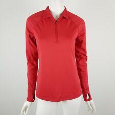 Athleta Hindsight Half-Zip Red Silver Reflective Long Sleeve Pullover Small Tall