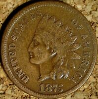 1875 Indian Head Cent - ATTRACTIVE VERY GOOD, EXACTLY AS SHOWN (K574)