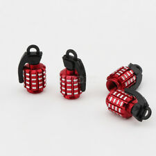4x Red Aluminum Wheel Tyre Valve Stem Caps Grenade Bomb Style  For Jeep