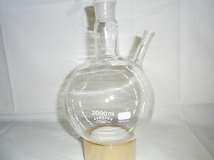 Zweihalskolben 2000 ml Destille  NEU Laborglas Laboreinrichtung Laborzubehör