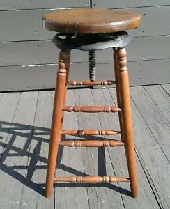 Antique Watchmakers Jewelers Industrial Wooden Shop Stool w Swivel Seat 1890s
