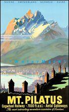 Switzerland 1937 Mt Pilatus Vintage Poster Print Retro Style Swiss Travel Art