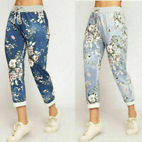 Women's Ladies Floral Flower Printed High Rise Jogger Trousers Pants Bottom 8-14