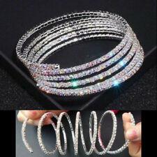 Rhinestone 5 ROW Spiral Bracelet AURORA BOREALIS AB Twist Arm Band Cuff FLEXIBLE
