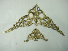 2 Applikationen Bronze  Barock für Uhr oder Möbel  original (c397)