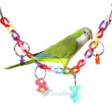 Colorful Parrot Parakeet Bird Cage Hammock Swing Hanging Playing Toys New A
