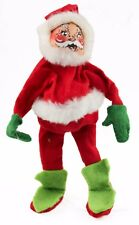 Red White Green Annalee Santa Fabric Doll Christmas Ornament Holiday Decoration