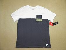 mens NIKE tee hazard pocket white gray athletic cut shirt size 2XL XXL NEW $35