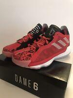 Men's Adidas Dame 6 GCA Basketball Shoes Glory Red/DashGrey/SolarRed Size 7