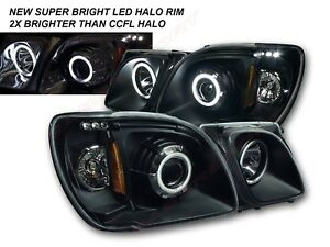 Pair 1pc Style Black LED Halo Projector Headlights for 1998-2007 Lexus LX470