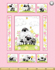 Mama Lal - Pink Sheep - Susybee Cot Quilt Craft Panel - 100% Cotton Fabric