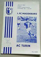 Programm 1.FC Magdeburg AC Turin Torino Uefa 5.11.1980 DDR Oberliga FCM Italia