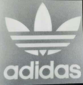 White Retro Adidas Trefoil logo 6.5cm Press on clothing football shirt flocked