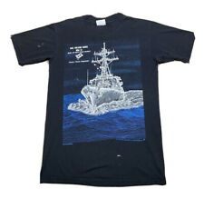 VTG 1991 Hanes Blackbird USS Arleigh Burke War Boat Graphic T Shirt Size Medium