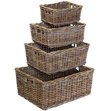 grey rattan storage baskets logs kindling bedroom bathroom kitchen high end