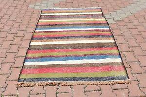 Oushak Colorful Kilim Area Rug Anatolian Handmade Vintage Ethnic Carpet 4x7 ft